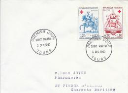 TIMBRE N° 1278 / 1279  CROIX ROUGE - 1ER JOUR D'EMISSION FRANCE 1960 - - ST MARTIN - TOURS -  Circulée - 1960-1969