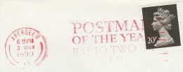 1990  GB COVER Slogan POSTMAN OF THE YEAR RADIO TWO , Aberdeen   Stamps Broadcasting Post - Post