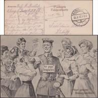 Allemagne 1917. Carte En Franchise Militaire. Sept Jeunes Femmes Se Disputent Un Soldat. Seulement Contre Bon D'achat - Bandes Dessinées