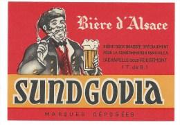 Ancienne Etiquette Bière D'alsace Sundgova La Chapelle Sous Rougement Territoire De Belfort 90 - Bière