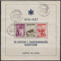 2865(1). Albania, 1937, 25 Years Of Independence, Block, Used (o) Michel Block 1 - Albanie