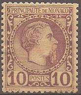 MONACO - 1885 10c Prince Charles III. Scott 4. Mint Hinged * - Monaco