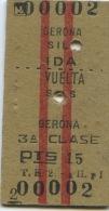 2 - BILLETE EDMONDSON DE LOS FERROCARRILES ESPA�OLES // GERONA - SILS // IDA Y VUELTA // 1960
