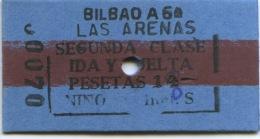 70 BILLETE EDMONDSON DE LOS FERROCARRILES ESPA�OLES // BILBAO - LAS ARENAS // IDA Y VUELTA// TARIFA NI�OS // 2� CLASE