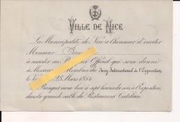 Nice 28 Mars 1884 Invitation Au Banquet De L'exposition Internationale Restaurant Catelain - Faire-part