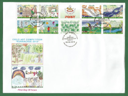 PAKISTAN 2012 - KURRACHEE Karachi Stamp Exhibition 8v - FDC MNH ** - Child Art Competition Dolphin Flag Fish As Scan