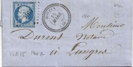 014. LSC N°14 - Càd Hortes - PC 4164 (HAUTE MARNE) à Langres - Indice 15 - 1862 - Marcophilie (Lettres)