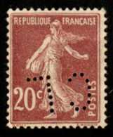 FRANCE - Scott #166 Sower (*) / Used Perfins Stamp - France