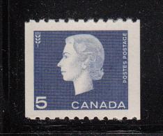 Canada MNH Scott #409 5c Elizabeth II Cameo Issue Coil Single - 1952-.... Règne D'Elizabeth II
