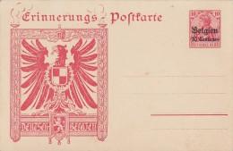 Dt Post In Belgien Privat-Ganzsache Erinnerungs-Postkarte Postfrisch - Besetzungen 1914-18