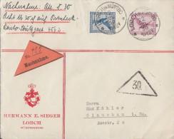 DR NN-Brief Mif Minr.A379, 380 Lorch 22.7.30 - Deutschland