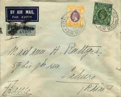 MARCOPHILIE - 250715 -   CHINE - HONG KONG -  Lettre Pour La France Par Avion Marque D'annulation Décembre 1934 - China