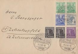 Gemeina. Brief Zehnfachfr. Mif Minr.2x 943,944,947,955,2x 958 SST Kaltennordheim 25.6.48 - Gemeinschaftsausgaben