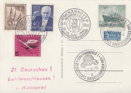 Karte Mif Minr. Berlin 106,124,126 Bund Minr.205 SST Hannover 2.7.55 21. Dt. Bundesschiessen - Briefe U. Dokumente