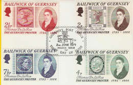 Guernsey – 1971 – FDC – Special Issue Thomas De La Rue - Guernsey