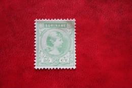 Koningin Wilhelmina 20 Ct NVPH Nr: 26 1892 No Gum MH / Ongebruikt SURINAME / SURINAM - Surinam ... - 1975
