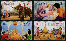 THAÏLANDE 2015 - Elephants, Fêtes, Songkran Day - 4 Val Neufs // Mnh - Thailand