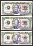 * URUGUAY: 0,50 NUEVOS PESOS (1975) AUNC 3 Billetes Correlativos - Uruguay