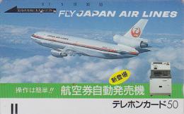 Télécarte Ancienne Japon / 110-3493 - AVIATION - JAL - JAPAN AIRLINES Front Bar Phonecard - Balken TK - Avion 916 - Avions