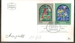 Israel & FDC Vitrais De Marc Chagall, Sinagóga De Hadassah, Jerusalém  1973  (511) - Vetri & Vetrate