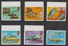 LIBERIA - 1976 IMPERF Centenary Of Telephone - Ships, Planes, Space, Etc. Scott 742-747. MNH ** - Liberia