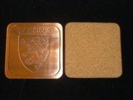 1 X Singapore BARON'S STRONG BREW Embossed Copper Tone Metal Beer Coaster Mat - Portavasos