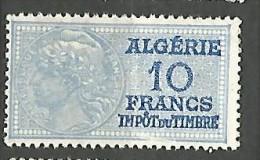 ALGERIE FISCAL DE 10F   NEUF** SANS CHARNIERE  / MNH