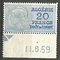 ALGERIE FISCAL DE 20F   NEUF** SANS CHARNIERE  / MNH