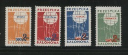 POLAND 1960 BALLOON POST STAMPS SET OF 4 NHM KATOWICE SYRENA POZNAN WARSZAWA BALLOONS FLIGHT TRANSPORT - Airships