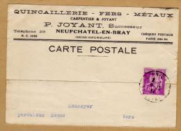 Carte Quincaillerie Fers Métaux Neufchätel-en-Bray à Monnoyer Par Saleux Somme Vers - Frankreich