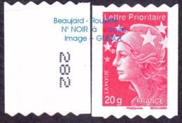 France Roulette Autoadhésif N°  599 ** Au Modèle 4572 - Marianne De Beaujard De 20 Gr. Prioritaire N° Au Dos à DROITE - Rollen