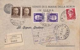 SIENA 1945 - PREGEVOLE AFFRANCATURA MISTA IMPERIALE CON E SENZA FASCI + SOPRASTAMPATI P.M. - CART. RACCOMANDATA  - SX067 - Storia Postale