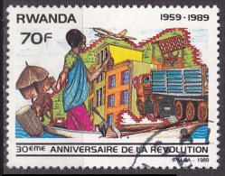 Timbre Oblitéré N° 1362(Cob) Rwanda 1989 - Anniversaire De La Révolution - Rwanda