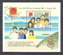 Tuvalu 2001 Philatelie Briefmarkenausstellung PHILANIPPON Gesellschaft Völker Botschafter Verständigung, Bl. 85 ** - Tuvalu (fr. Elliceinseln)