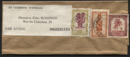 CONGO Bande de journal tarif imprim� par avion de LEOPOLDVILLE vers Bruxelles 1950 printed matter wrapper
