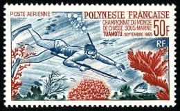 POLYNESIE 1965 - Yv. PA 14 ** TB Variété Cote= 106,00 EUR - Championnat De Chasse Sous-marine, Tuamotu ..Réf.POL22238 - Poste Aérienne