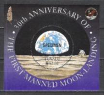 Tuvalu 1999 Weltall Weltraum Raumfahrt Mondlandung Planeten Erde Earth Mond Moon Horizont, Bl. 68 ** SPECIMEN - Tuvalu (fr. Elliceinseln)