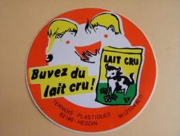 Autocollant, Sticker - Buvez Du Lait Cru -Ternois Plastiques - Hesdin  -  (383.p16) - Stickers