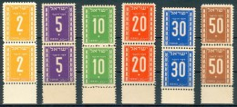 Israel - 1949, Michel/Philex No. : 6-11, - Portomarken - MNH - *** - Full Tab - Israel