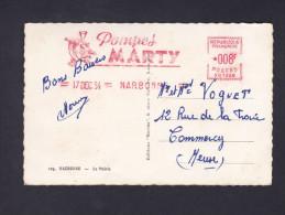 Affranchissement Automatique Publicité Pompes Marty Narbonne Sur Carte Postale Narbonne Mairie 17 Dec 54 - Automation - LSA