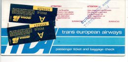 TEA vlietuigticket  passenger ticket biljet 1979  Brussel Mallorca Palma   Flugzeug avion vlietguig airplane