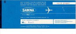 Sabena   vlietuigticket  passenger ticket biljet 1971  Brussel Moscou    Flugzeug avion vlietguig airplane