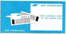 Air Yugoslavia    vlietuigticket  passenger ticket biljet 1976  Brussel Dubrovnik     Flugzeug avion vlietguig airplane