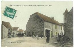 CHATEAU CHALON Rare Animée Attelage Place Et Ancienne Tour  - Cpa Jura - Frankrijk