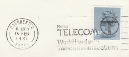1981 Cover Slogan BRITISH TELECOM WORLD LEADERS IN TELECOMMUNCIATIONS Colchester GB Telephone Stamps - Telecom