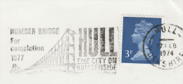 1974 Cover HUMBER BRIDGE FOR COMPLETION 1977 HULL CITY ON HUMBERSIDE  Illus BRIDGE Stamps Gb  Hull - Bridges