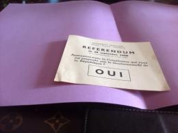 Référendum 28 Septembre 1958 Constitution République Française  Oui - Documents Historiques