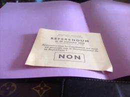 Référendum 28 Septembre 1958 Constitution République Française  Non - Documents Historiques