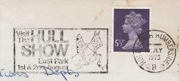 1975  COVER Slogan HORSE HULL SHOW Equestrian Sport Horses Stamps Gb - Horses