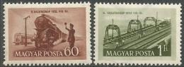 Hungary  1952   Sc#1012-3  Railroad Day Set   MLH*   2016 Scott Value $2.50 - Hungría